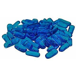 ZEVORA Home Decorative (Light Blue )Capsule Shape Glossy Pebbles Stone for Home Garden Decor Aquarium Stones-300 Gm