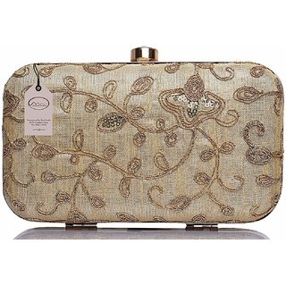 Mammon Women's Bridal Clutch with sling (RR-bridal-gold,Size-6.5x4x4 inches)