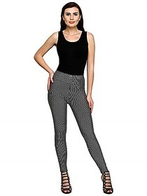 Striped  Ankle Length Thin Black and Thin White Stretchable  Jegging for Casual Wear