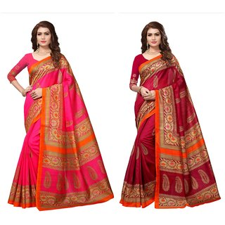 Fabwomen Multicolor Bhagalpuri Silk Floral Saree With Blouse (Pack of 2)