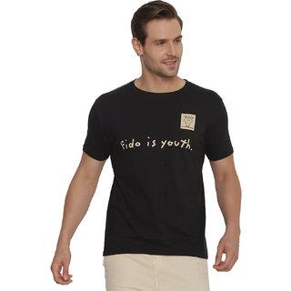 FIDO DIDO Men's Black Printed Cotton Slim Fit T-shirt