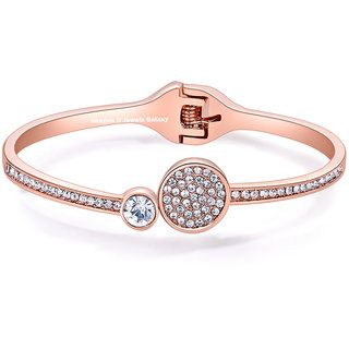 Jewels Galaxy Gracious AAA AD Contemporary 18K Rose Gold Plated  Charm Bracelet For Women/Girls
