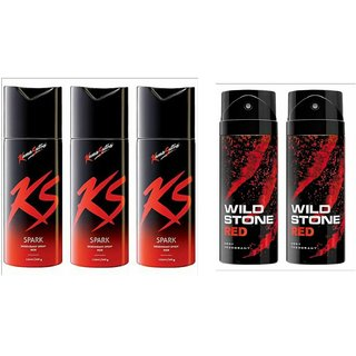 rtex 2 wild stone And 3ks g  Deo Deodorants Body Spray For Men - Combo Pack OF 5 Pcs