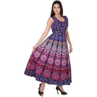 08ada867053c5 Buy Jaipuri Printed Cotton Womens Maxi Long Dress with Attached Jacket Free  Size Upto 44XXL Online - Get 62% Off