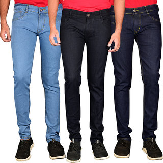 Waiverson Slim Fit Steachable Cotton Multicolour Jeans (Pack of 3)