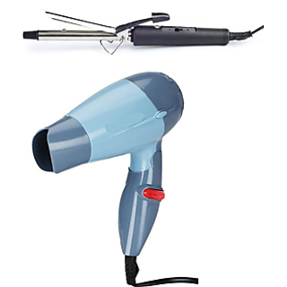 NCombo of Mini Trendy Hair Dryer 1000 watt and Professional Hair Curler ...