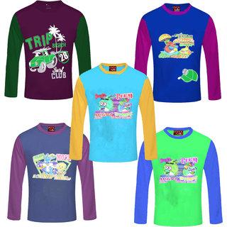 Jisha Boys Full Sleeves(SCHN) Tshirt Multicolor Set of 5