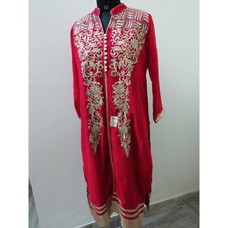 Red colour Kurti with Embroidery