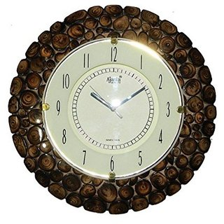 Desi Karigar Stylish Wooden Round Shape Hanging Wall Clock Antique Bamboo Finish - (Watch)