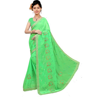 Jagdamba Sarees - JES-3011 Embroidery Work Gold Pattern with Green border