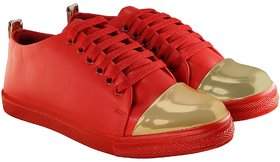 Blinder Women's Red Golden Lace-Up Casual Sneakers Shoe