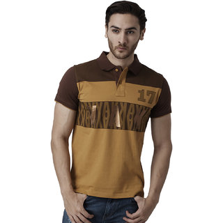 YAK YAK Cotton Gold Polo T-shirt for Mens