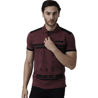 YAK YAK Men's Maroon Cotton Polo T-shirt
