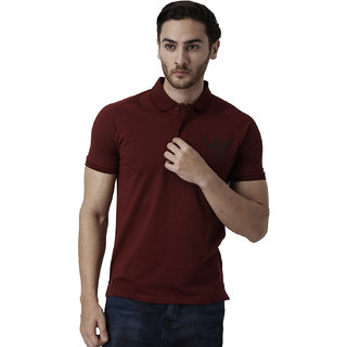 YAK YAK Cotton Maroon Slim Fit Polo T-shirt for Mens