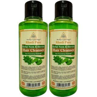 Khadi Pure Herbal Neem  Aloevera Shampoo - 210ml (Set of 2)