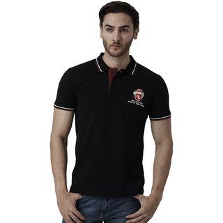YAK YAK Men's Black Cotton Slim Fit Polo T-shirt