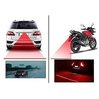 Andride Universal Car Styling Anti-Collision Led Laser Fog Lamp Brake Lamp Running Tail Light-12V for All Bikes Cars (Red)