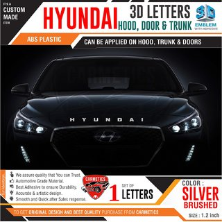Hyundai 3d letters for Creta 2018   Silver Brushed  Hyundai 3d letters 3d sticker logo emblem Hyundai accessories