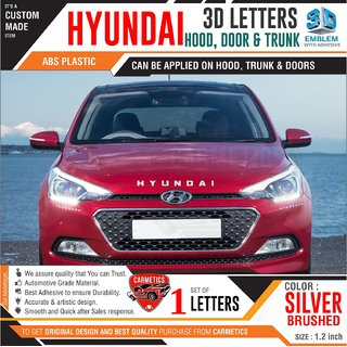Hyundai 3d letters for Elite i20 2018  Silver Brushed  Hyundai 3d letters 3d sticker logo emblem Hyundai accessories