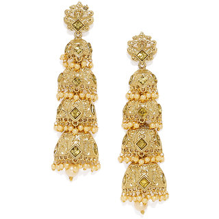 Zaveri Pearls Gold Tone Multi Layered Traditional Dangle Earring-ZPFK7518