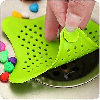 S4D Silicone Star Design Kitchen Sink Filter Bathroom Hair Catcher Bath Stopper Kitchen Waste Stopper Strainer Filter (A
