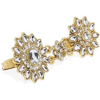 Zaveri Pearls Gold Tone Traditional Kundan Dual Finger Ring-ZPFK7447