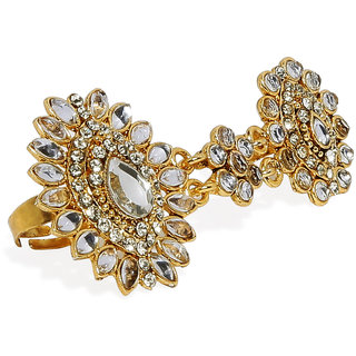 Zaveri Pearls Gold Tone Traditional Kundan Dual Finger Rings-ZPFK7449