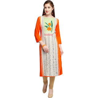 Envy9 Women's Multicolor Crepe Printed 3/4th Sleeves Casual Kurti