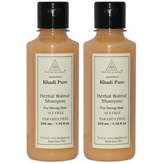 Khadi Pure Herbal Walnut Shampoo SLS-Paraben Free - 210ml (Set of 2)