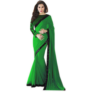 Styloce Green Georgette Plain Saree With Blouse