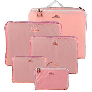 HOMEBASICS 5 in 1 Peach Easy Travel Bag Organizer, Set of 5 Bags Assorted Sizes - Peach Color