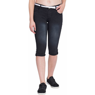 Plazma Jeans Black Regular Fit Capri
