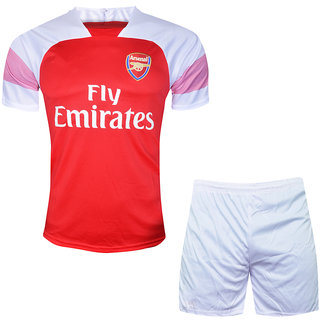 new concept 35960 d24d7 Kids Arsenal Football Team Red and White Color Dry Fit Polyester Half  Sleeve Jersey With Short