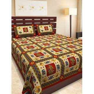 UniqChoice 100% Cotton traditional Red Printed King Size Double bedsheet With 2 Pillow Cover