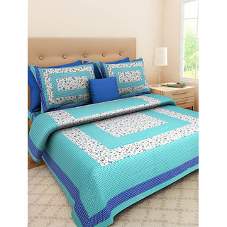 UniqChoice 100 Cotton traditional Printed King Size Double bedsheet With 2 Pillow Cover