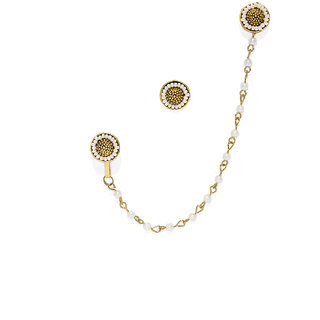 Zaveri Pearls Gold Tone Pearls Clip-on Nose Pin Chain Linked With Stud Earring-ZPFK7404