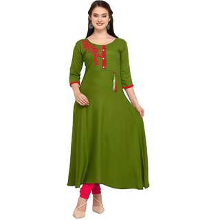 VH FASHION Present Rayon Embllished kurti for women's (speciality applique work with designer sticker medium pattern cal