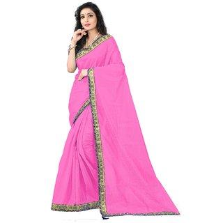 Florence Light Pink Art Silk Plain Saree