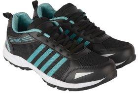 Port Men's Black Mesh Running Sports Shoes
