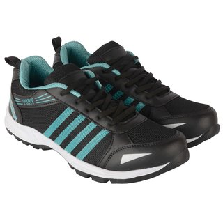 Port Mens Black Mesh Running Sports Shoes