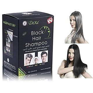 Black Hair Shampoo - 25 ml X 10 pcs. - Instant Black Color Hair Dark in 5 min.
