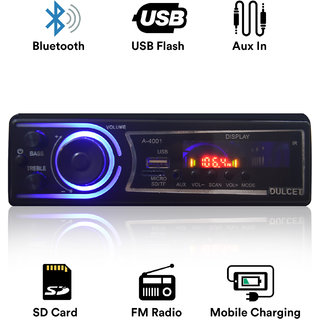 Dulcet DC-A-4001 Fixed Panel Single Din MP3 Bluetooth/USB/FM/AUX/MMC Car Stereo with  Premium 3.5mm Aux Cable