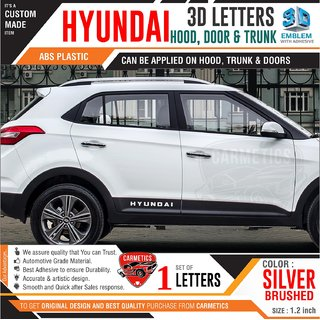 Hyundai 3d letters for i20 active  Silver Brushed  Hyundai 3d letters 3d sticker logo emblem Hyundai accessories