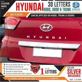 Hyundai 3d letters for Verna  Silver Brushed  Hyundai 3d letters 3d sticker logo emblem Hyundai accessories