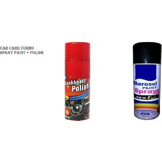 Combo Of Car Dashboard Polish With Strawberry Fragrance And Spray Paint Black Color For All Vehicles  Home Shinko