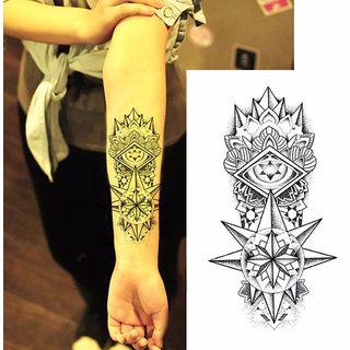 3D Temporary Tattoo Sticker Stars Flower Design For Men Women Girls Hand Arm Waterproof Heart Design Size - 19x12cm