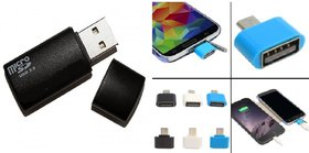 Card Reader + OTG Adopter Combo (Assorted Colors)