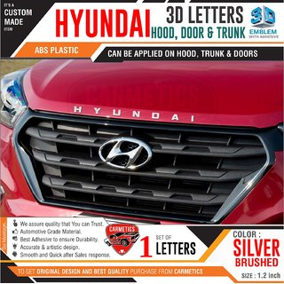 Hyundai 3d letters for Santro  Silver Brushed  Hyundai 3d letters 3d sticker logo emblem Hyundai accessories