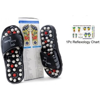 Spring Acupressure and Magnetic Therapy Yoga Accu Paduka Slippers for Full Body Blood Circulation Natural Leg Foot M
