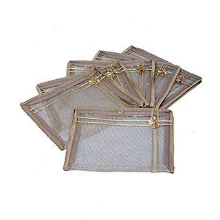 Kuber Industries™ Saree cover 6 Pcs Combo in full transparent golden net